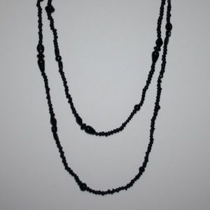Stunning long black glass necklace vintage